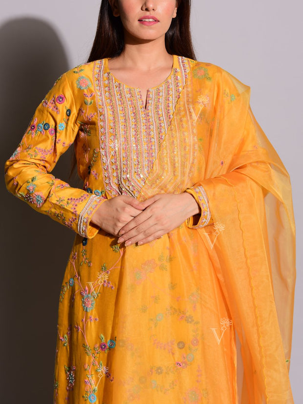 Mango Yellow Embroidered Suit Set