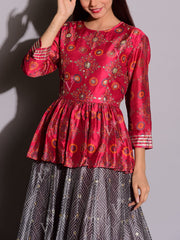 Grey Printed Peplum Anarkali
