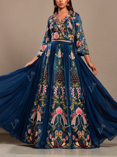 Cobalt blue Georgette Lehenga Set