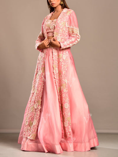Blush Pink Organza Lehenga With Embroidered Jacket