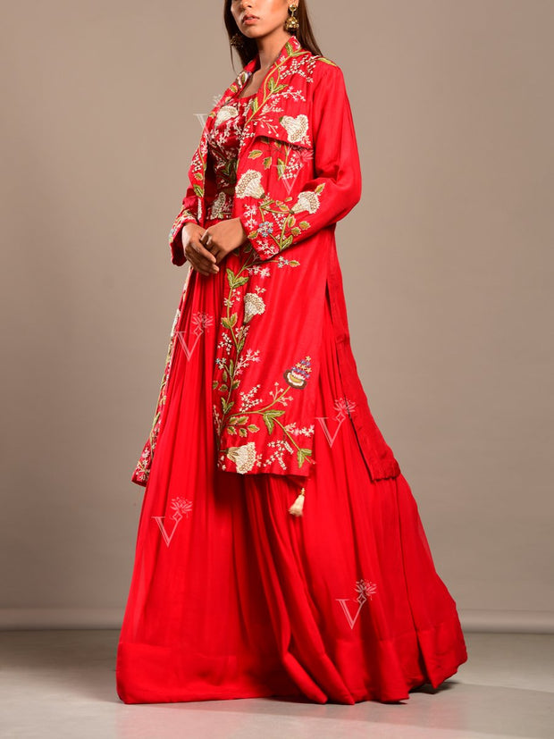 Red Silk Lehenga With Cape Jacket