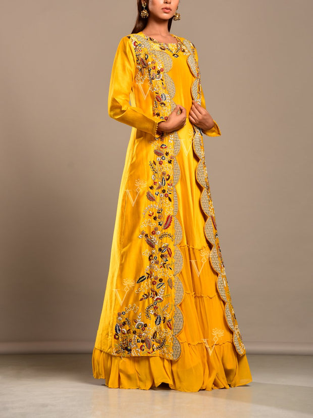 Sun Yellow Silk Anarkali With Embroidered Jacket