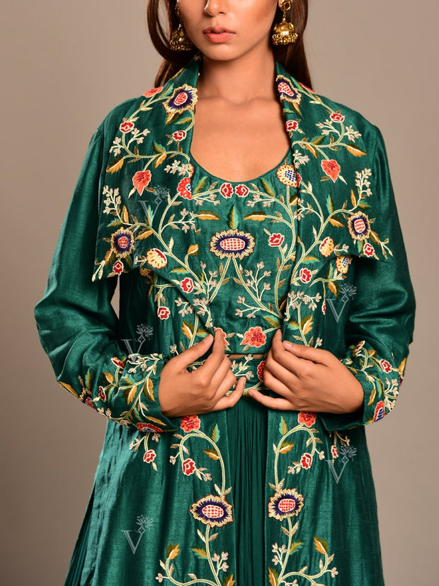 Emerald green Lehenga With Embroidered Jacket