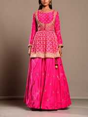 Fuchsia Pink Lehenga Set With Ghat Chola Peplum