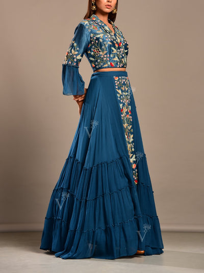 Persian Blue Lehenga Set Embroidered Blouse
