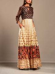 Off White and Black Printed Anarkali Tunic