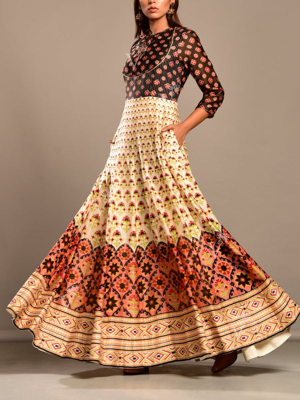 Anarkali, Anarkali, Gown, Gowns, Printed, Highlighted, Floor length, Chanderi Silk, Silk, Regular wear, Party wear