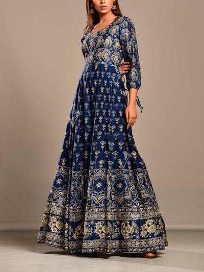 Midnight Blue Printed Anarkali Tunic