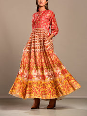 Peach and Off White Printed Anarkali Tunic