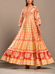 Peach Printed Anarkali Tunic
