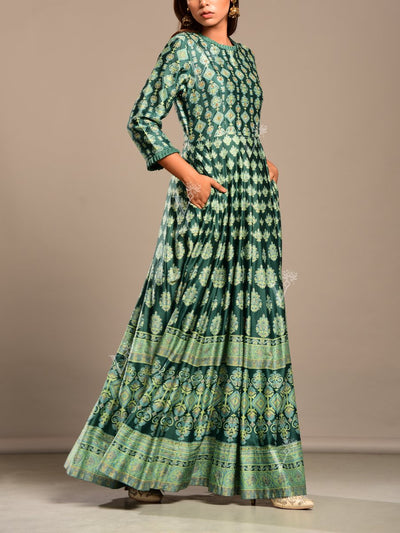 Bottle Green Printed Anarkali Tunic
