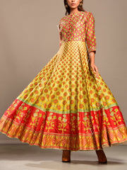 Red and Lime Green Printed Anarkali Tunic