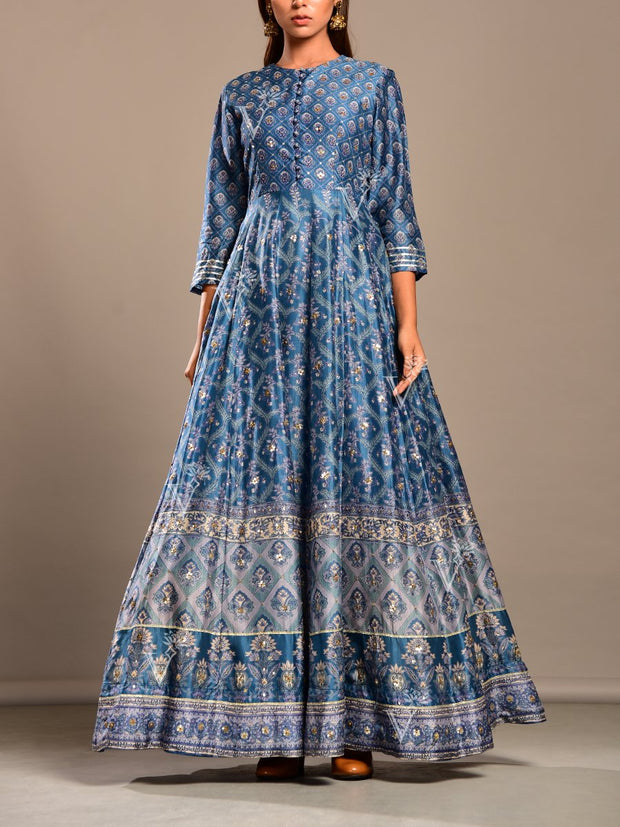 Indigo Blue Printed Silk  Anarkali Gown