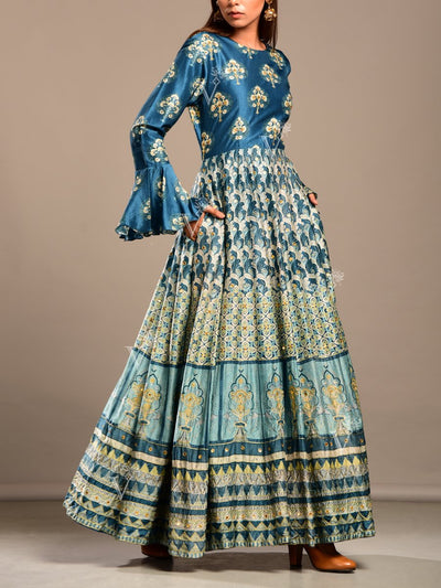 Peacock Blue Printed Silk Anarkali Gown
