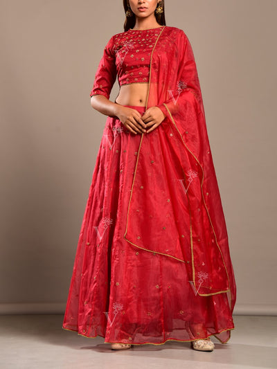 Lehenga, Lehenga set, Organza, Silk, Embroidered, Thread work, Beed work, Party wear, Festive wear