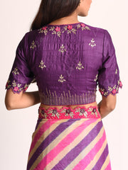 Purple And Pink Embellished Leheriya Tussar Silk Saree