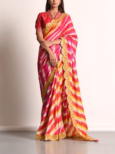 Red And Yellow Leheriya Tussar Silk Saree