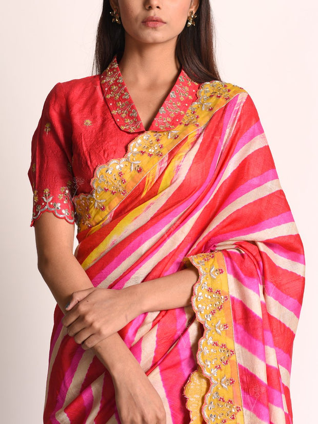 Saree, Sarees, Traditional, Traditional outfit, Traditional wear, Leheriya, Rajasthani, Jaipuri, Gota patti, Embroidery, Embellished, Tussar silk, Silk leheriya, Party wear, Festive wear