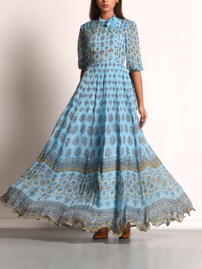 Baby Blue Chiffon Printed Anarkali Gown