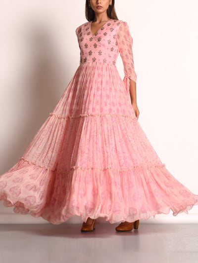 Baby Pink Chiffon Printed Anarkali Gown