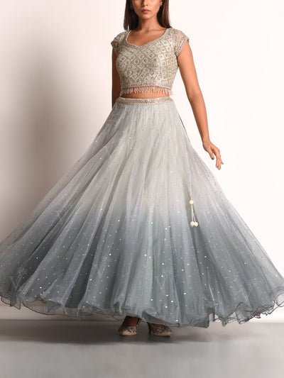Grey Ombre Net Lehenga Set