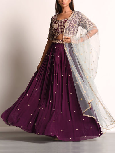 Purple Embellished Lehenga Set