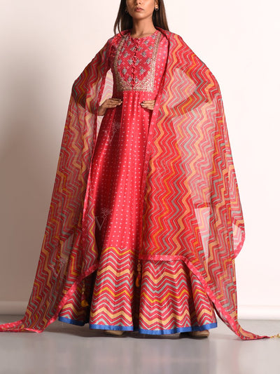Pink Pure Chanderi Printed Anarkali Gown