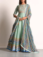 Mint Green Pure Chanderi Printed Anarkali Gown