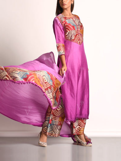 Pink Shaded Vasansi Silk Printed Suit Set