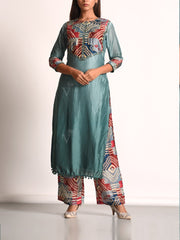 Pine Green Vasansi Silk Printed Suit Set
