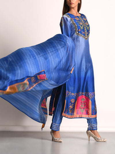 Blue Shaded Vasansi Silk Printed Suit Set