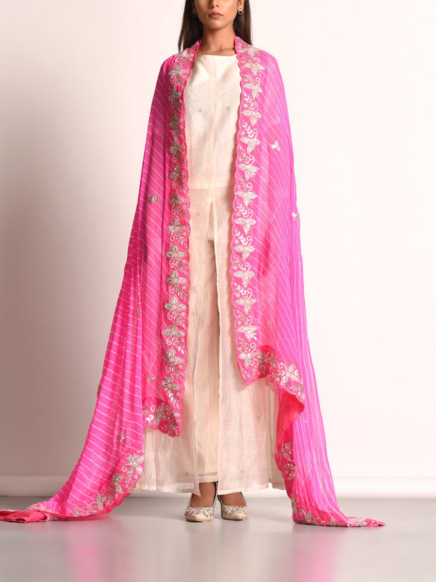 Pink Georgette Leheriya Scalloping Dupatta