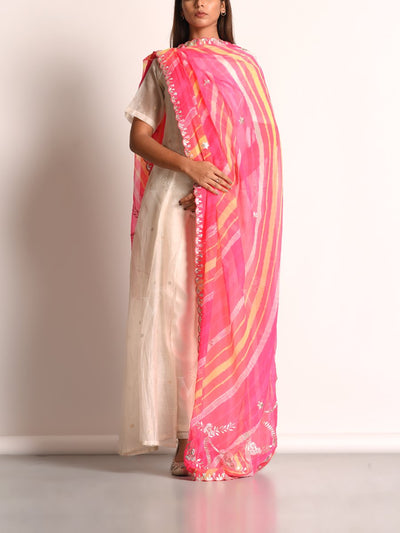 Light Pink Georgette Leheriya Gota Patti Dupatta