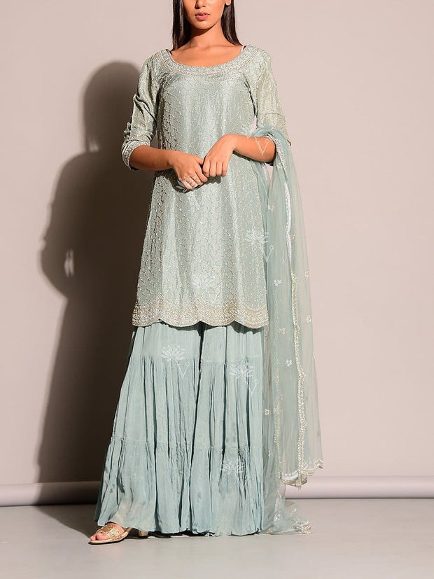 Grey Blue Salwar Suit