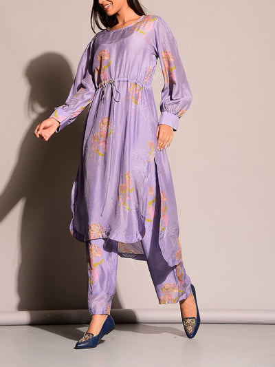 Lavender Waist clinching Monotone Kurta Shirt Set