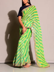 Green Leheriya Saree