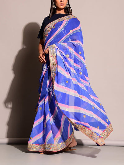 Blue Leheriya Saree