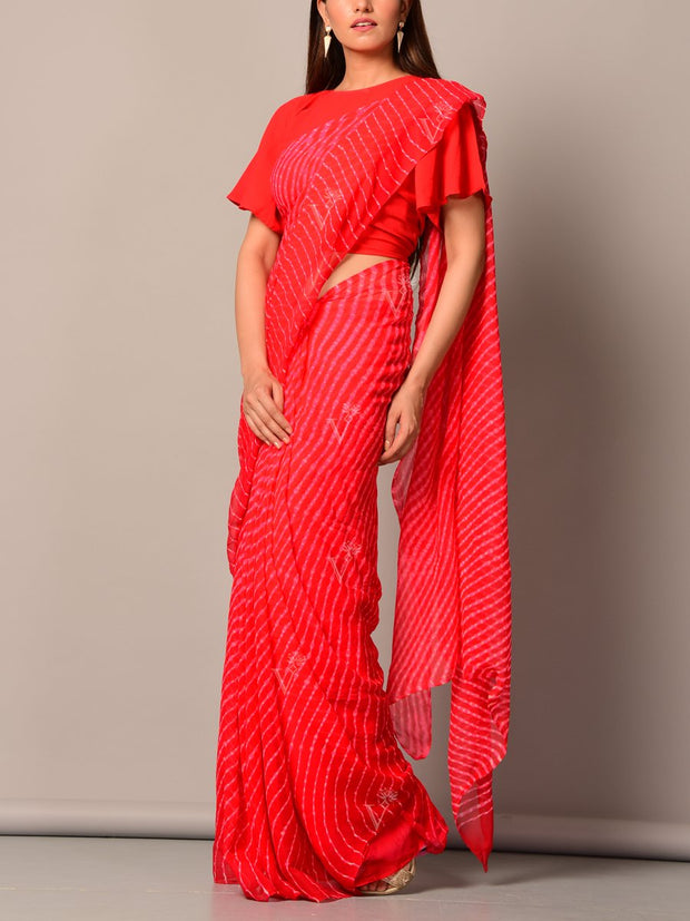 Red Leheriya Saree
