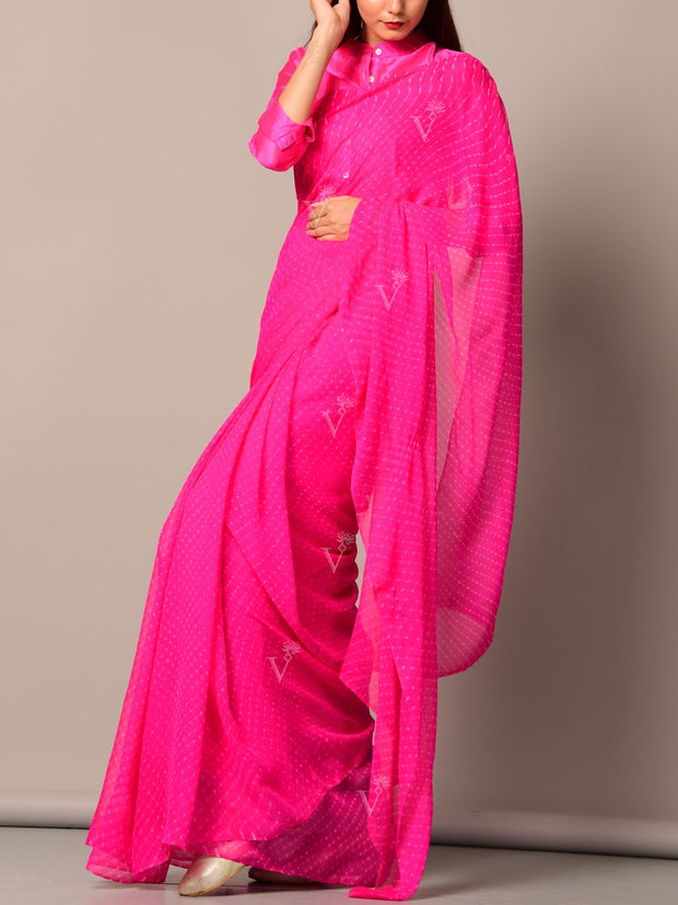 Pink Leheriya Mothda Saree