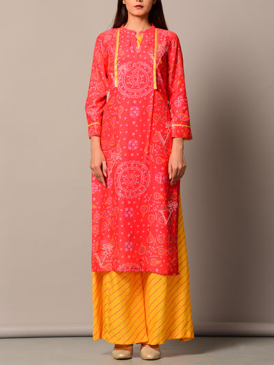 Red Cotton Kurta Set