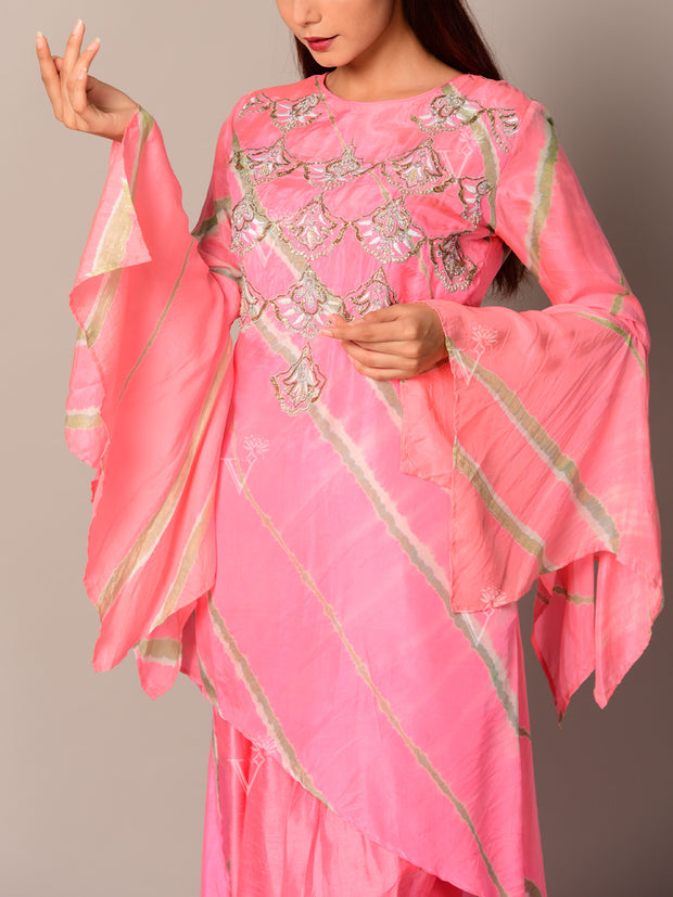 Pink Silk Dhoti Set
