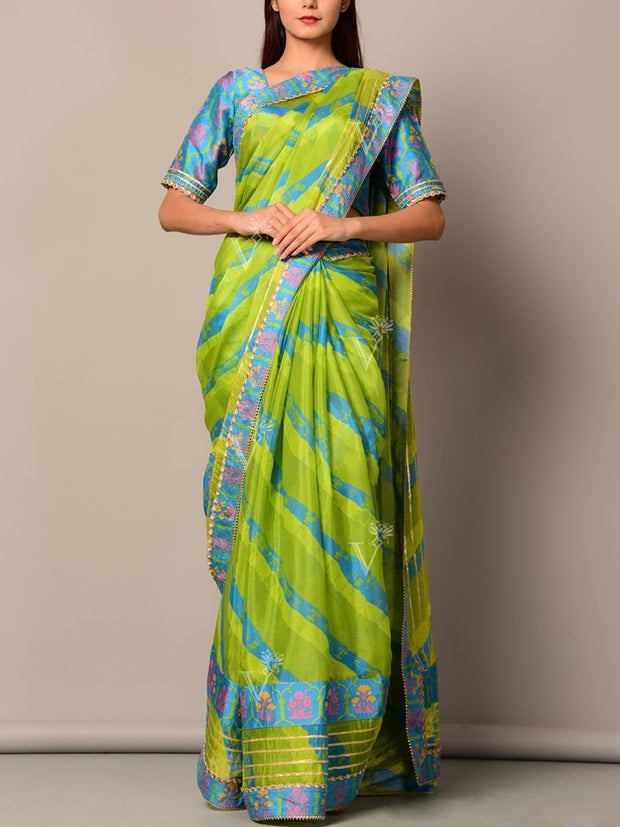 Green And Blue Silk Leheriya Saree