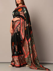 Black Geometric Printed Silk Saree