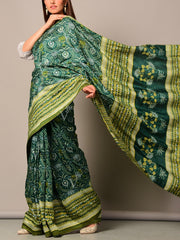 Bottle Green Printed Silk Saree