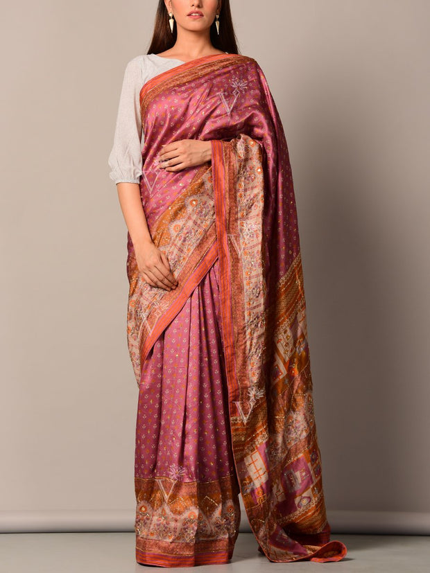 Light Wine Printed Silk Saree