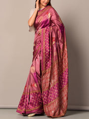 Wine Printed Silk Saree