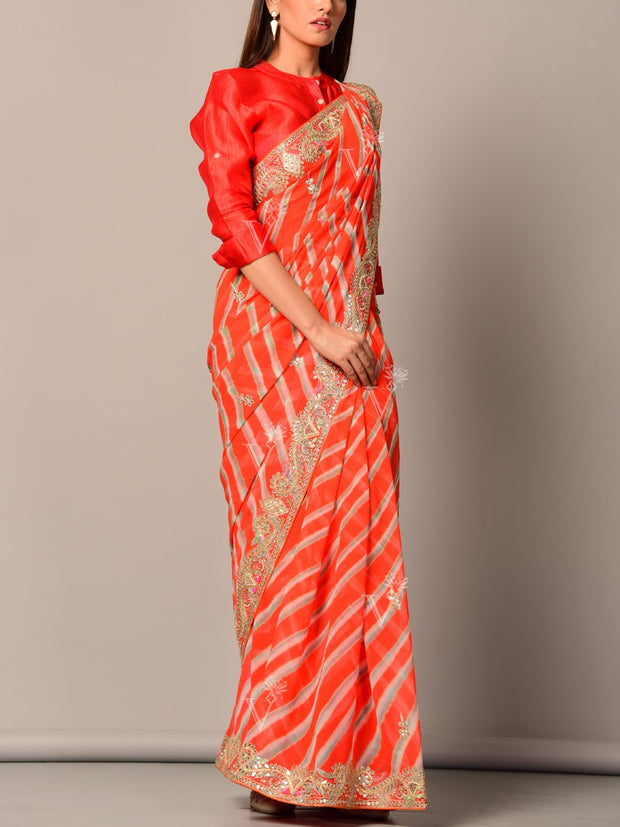 Orange Leheriya Georgette Saree