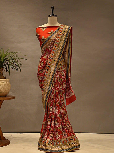 Saree, Sarees, Printed, Patola, Silk, Handwoven, Pure, Regular Wear