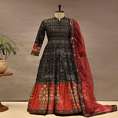 Anarkali, Anarkalis, Suit, Suit Sets, Gowns, Silk Gown, Printed Gown, Chanderi, Floor Length, Party Wear