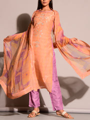 Peach Kurta Set With Chiffon Dupatta
